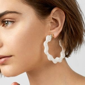 Jewelry - White Acrylic Hoop Earrings